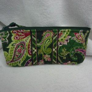 Vera Bradley Green Paisley Zip Top Cosmetic Bag